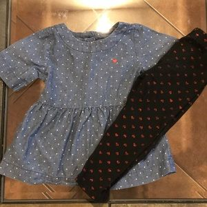 Other - 2 for $20 Carters Heart Top and Leggings
